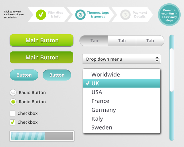 online form user interface elements